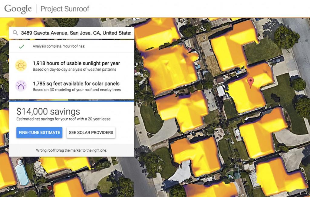 Il risultato di un'elaborazione di Project Sunroof